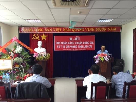 Viện Sức khỏe nghề nghiệp và môi trường tham dự lễ đón bằng công nhận chuẩn Quốc gia YTDP tại Lào Cai 25/04/2015