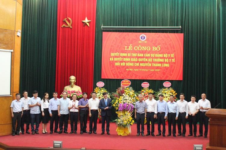 Lễ công bố Quyết định Bí thư Ban Cán sự đảng Bộ Y tế và Quyết định giao Quyền Bộ trưởng Bộ Y tế đối với đồng chí Nguyễn Thanh Long.